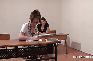 French students hard fucked and fisted in FFM threesome in classroom