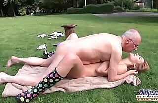 Young Porn Teen Blowjob and fucked by grandpa outside