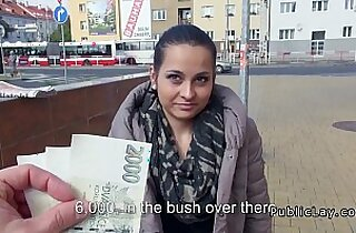 European amateur teen fucks in public for cash