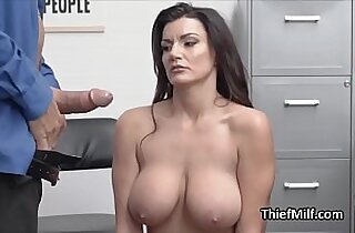 Big tit MILF suspect faces cock first time at the storage room