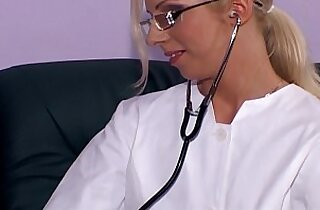 Blonde nurse fucking white stockings and heels