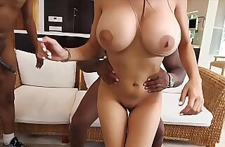 Busty girl with her huge boobs butt fucked by two black guys.