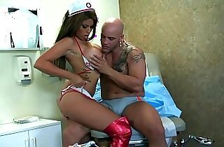 Big boobed brunette fucking in shiny red boots