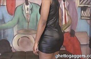 new Ebony MILF Sha Dynasty face fucked hard at ghetto gaggers