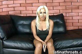 Busty latina Desiree Lopez deep throats dicks to the balls