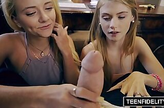 TEENFIDELITY Tiny Teens Hannah Hays and Riley Star Share Cock