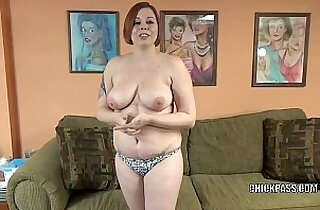 Plump hottie Tiffany Blake is swallowing a stiff white cock