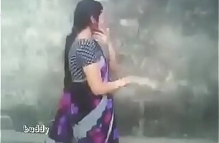 indian aunty in saree outdoor suck and boob press