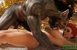 Little Red Riding Hood attacked fucked by 3D Monster Werewolf in mystique forest. Fairy Tail Parody