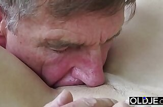 Old Young Teen Blowjob Deepthroat and Cumshot After Pussy Fucking