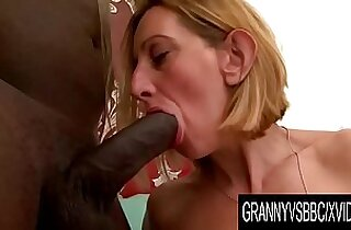Granny Vs BBC Older Blonde Lilou Ch Takes It up the Ass
