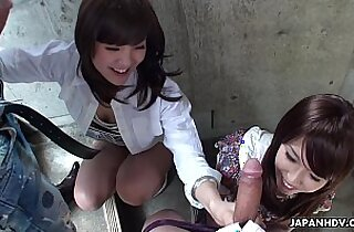Two slutty Asian sucking dudes on the stairwell